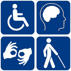 Symbols for disability. Source: https://commons.wikimedia.org/wiki/File:Disability_symbols.svg